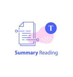 summary reading short article content writing vector image