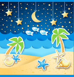 Summer landscape with palms and shells by night vector