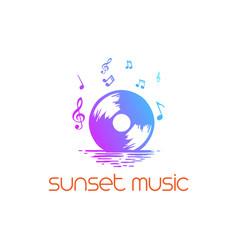 sunset sunrise disc cd dj music logo design vector image