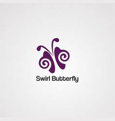 swirl butterfly logo icon element and template vector image