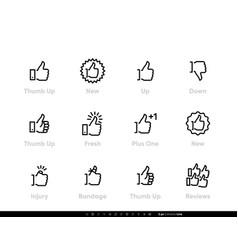 thumb up editable line icons vector image