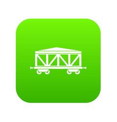 train cargo wagon icon digital green vector image