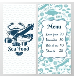 Two Paged Blue Fish Menu with Graphic vector image