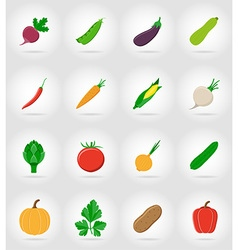 Vegetables flat icons 17 vector