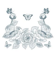 vintage victorian frame border monogram floral vector image
