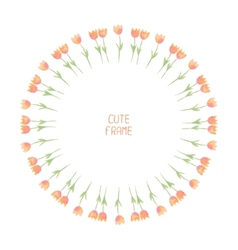 watercolor floral frameTulips Cute wreath made of vector image
