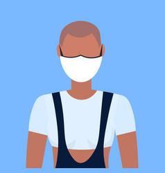 Woman wearing protective face mask smog air vector