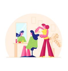 Young woman visiting beauty salon master doing vector