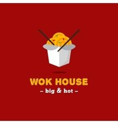 bright wok box chineese cafe logo Brand vector image