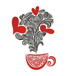 Caps tea coffee love heart romantic menu vector image vector image