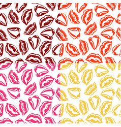 set of seamless patterns with colorful lips vector image vector image