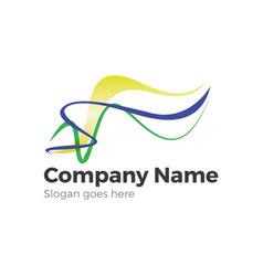 waves and ribbons logo symbol vector image vector image