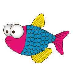 color silhouette of fish with big eyes and scales vector image
