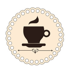 elegant border with brown silhouette coffee cup vector image