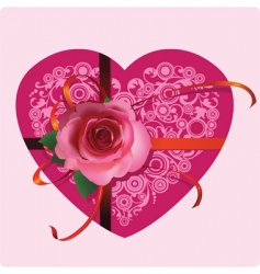 heart with a beautiful rose vector image vector image