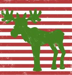 Moose greeting card vintage vector