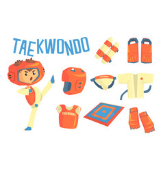 boy taekwondo fighter kids future dream vector image