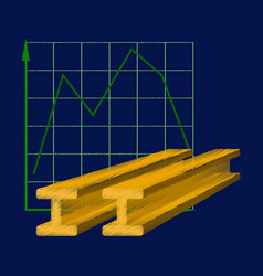 flat shading style icon falling graph vector image vector image