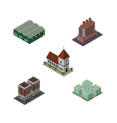 isometric urban set of chapel house clinic and vector image vector image