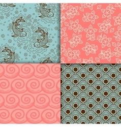 Japanese turqiouse and pink pattern set vector