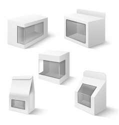 product boxes with plastic window templates vector image