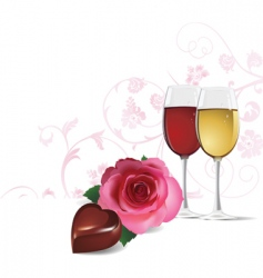 rose wine and chocolate vector image vector image