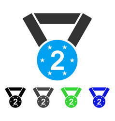 Second medal flat icon vector