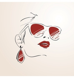 Sensual woman face with glasses vector image vector image