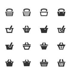 shopping bascket icons set vector image