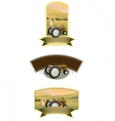 tractor labels vector image vector image