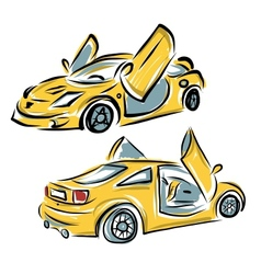 Yellow sport car with lamba doors for your design vector image
