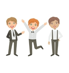 Boys in black and white outfits happy schoolkids vector