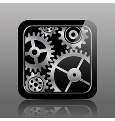 Button black with gears vector image vector image