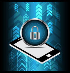 technology digital cyber security lock circle vector image vector image