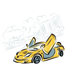 Yellow sport car on city background for your vector image