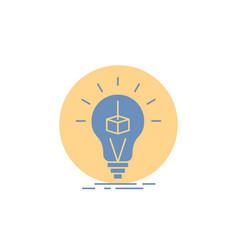 3d cube idea bulb printing box glyph icon vector