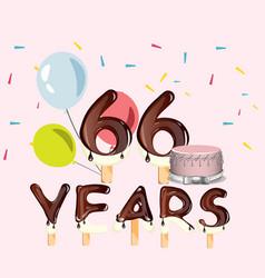 66 years happy birthday card vector image vector image