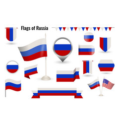 a large set icons and signs with flag vector image