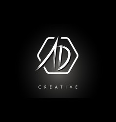 Ad a d brushed letter logo design with creative vector