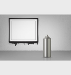 aerosol spray on grey background with black frame vector image