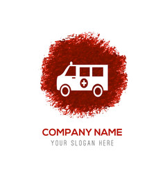 Ambulance icon - red watercolor circle splash vector