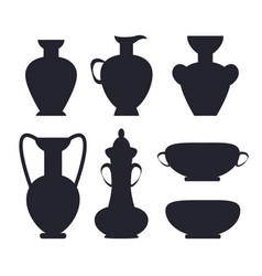 ancient vases black silhouettes isolated vector image