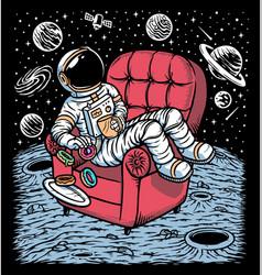 Astronauts enjoying coffee and donuts vector