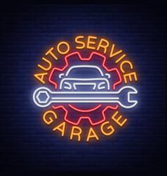 Auto service repair logo in neon style neon sign vector