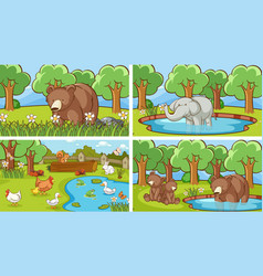 background scenes animals in wild vector image