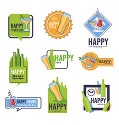 bar happy hour isolated icons beer and cocktails vector image