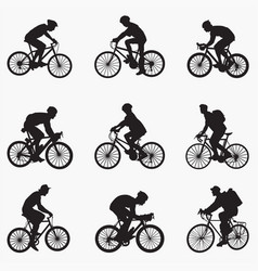 bicyclist man silhouettes vector image