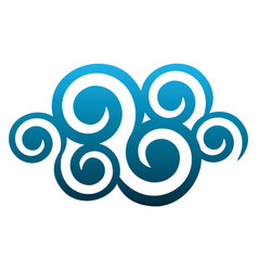 Blue cloud spirals and swirls shape vector