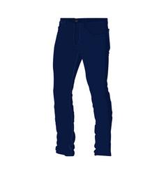 Blue denim long pants fashion style item vector