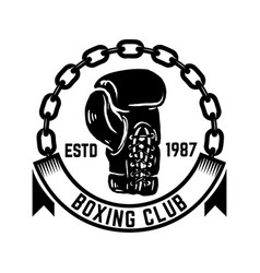 Boxing club emblem with boxing hand drawn boxing vector